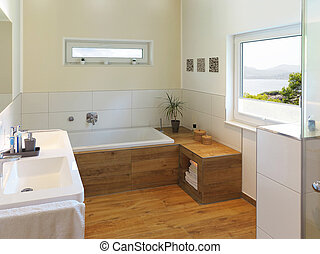 modern bathroom with a view to the sea - modern bathroom...