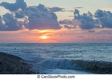 BATUMI, ADJARA, GEORGIA - SEPTEMBER 1, 2015: Scenic sunset...