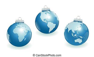 Christmas Tree Balls Planet Earth W