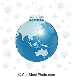 Christmas Ball Asia Australia World - Christmas tree ball -...