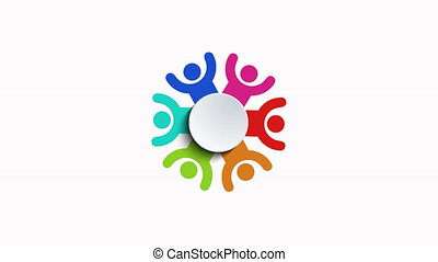 group of people logo animation on white background