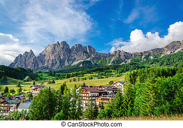 Cristalo ridge and green meadows in Dolomites - Amazing view...