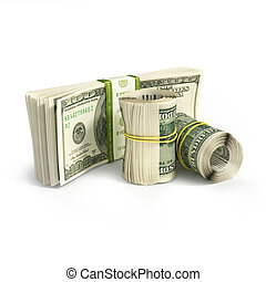roll of dollars and stack of bills isolated on white