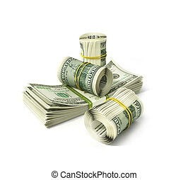 rolls of dollars isolated on white