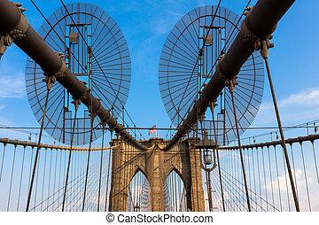 The Brooklyn Bridge is a hybrid cable-stayedsuspension...