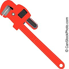 Pipe Wrench - A Red Pipe Wrench isolated on white