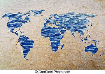 Save water: surreal map of the world with sea pattern inside...