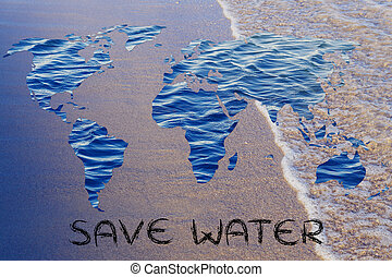 Saving water: surreal map of the world with sea pattern...