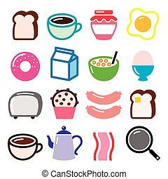 Breakfast food vector icons set - Vector icons set of...
