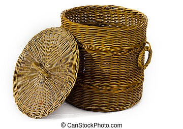 the rattan bin on isolated white background