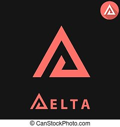 Delta letter logo template on dark background, d triangle...