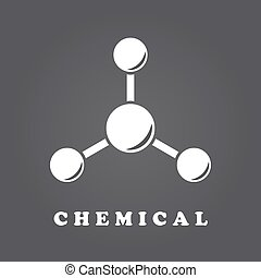Abstract molecule icon - Molecule icon on dark gradient...
