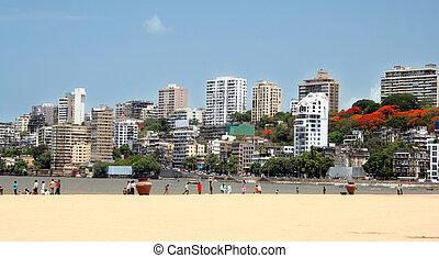 Mumbai Skyline - Mumbai skyline view from the beach