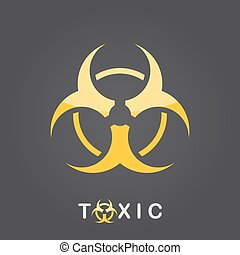 Toxic sign, bio hazard icon - Toxic sign on dark gradient...
