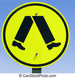 Pedestrian sign - Pedestrian road sign in Melbourne...