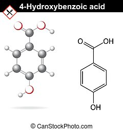 4-Hydroxybenzoic acid model and structure - 4-Hydroxybenzoic...
