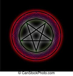 Glowing,  pentagram