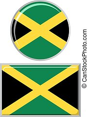 Jamaican round and square icon flag Vector illustration -...