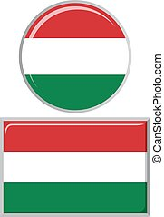 Hungarian round and square icon flag Vector illustration -...