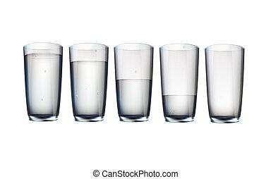 set of five cups of water
