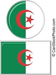 Algerian round and square icon flag. Vector illustration. -...