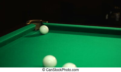 Corner pocket and balls fly in and near - Russian billiards,...