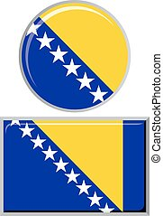Bosnia and Herzegovina round, square icon flag Vector...