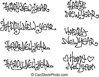 happy new year wish hand drawn