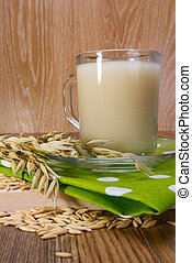 Avena, Decoction, en, Un, transparente, jarra, granos, y,...