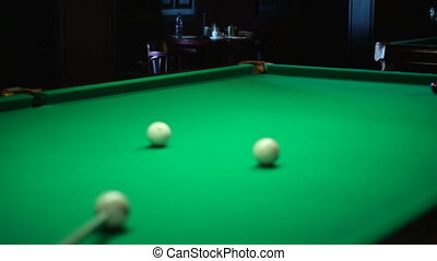 Cue and a ball in the pocket - Russian billiards, board game...