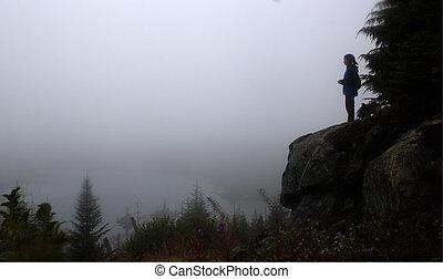 hembra, excursionista, posición, o, rock.,