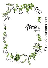Vector with cartoon peas  and calligraphic elements. Border frame design.