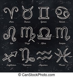Zodiac Signs On Chalkboard Background - Illustration of a...