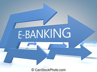 E-Banking render concept with blue arrows on a bluegrey...