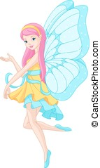 Fairy - A beautiful fairy with butterfly wings on a white...