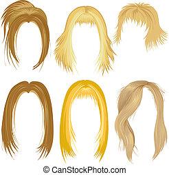 loura, cabelo, penteado
