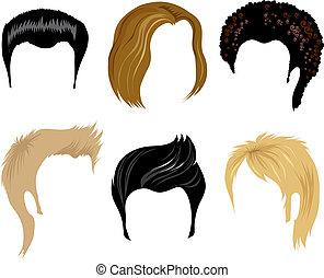 homens, cabelo, penteado
