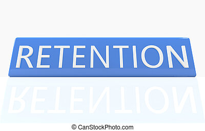 Retention - 3d render blue box with text on it on white...