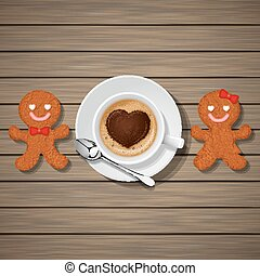 loving couple of gingerbread cookies and cappuccino cup with...