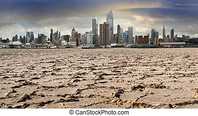 New York City - Manhattan - A general view of lower New York...