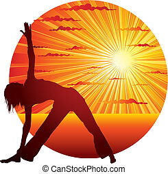 woman doing yoga - Young slim woman doing yoga gymnastics on...