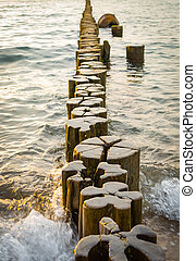 Wooden groynes on a beach in the water