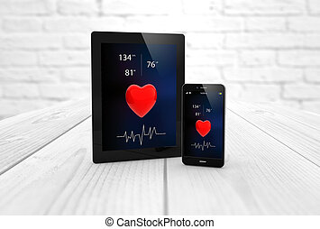tablet and smartphone health app - health concept:: digital...