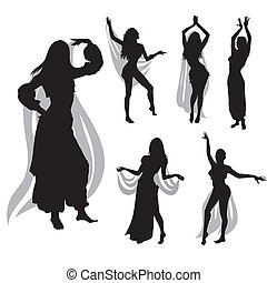 belly dance - silhouette of woman