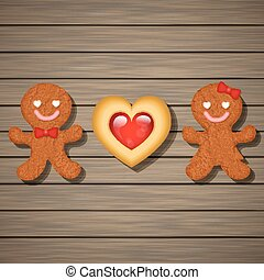 loving couple of gingerbread cookies and strawberry heart...