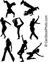 modern dancers  - Vector set of modern dancers silhouette