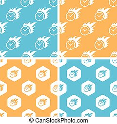 Burning clock pattern set, colored - Burning clock pattern...