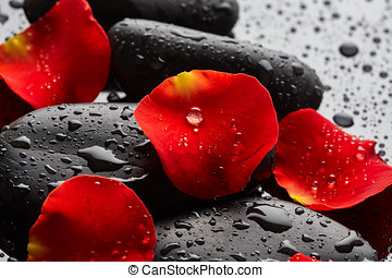 Spa stones with rose petals - Stones with rose petals and...