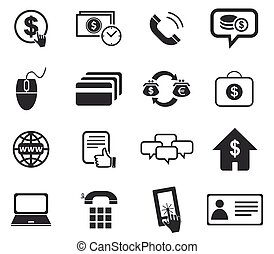 Finance icon set - Finance icon set, simple black images, on...