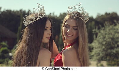 Photosession of two charming girls for beauty contest -...